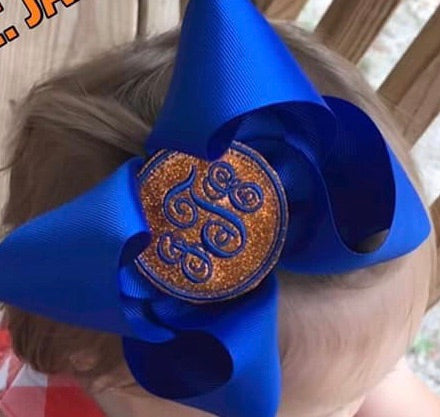 Embroidered Monogram Center Bow