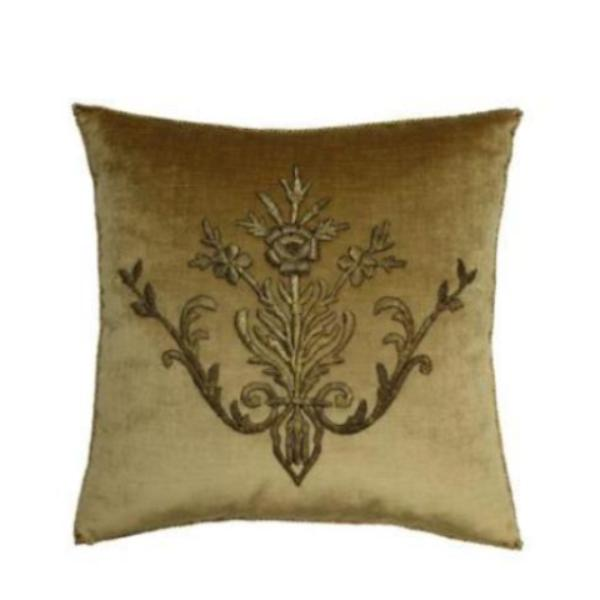 Antique Ottoman Empire Raised Gold Metallic Embroidery Pillow