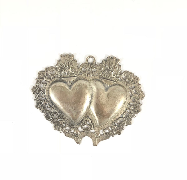Antique Large Double Heart Ex-Voto