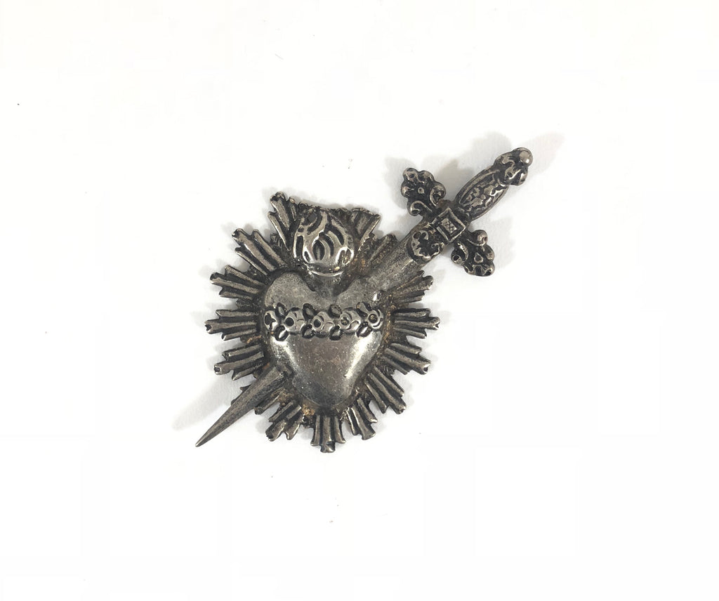 Antique Ex-Voto Heart With Sword