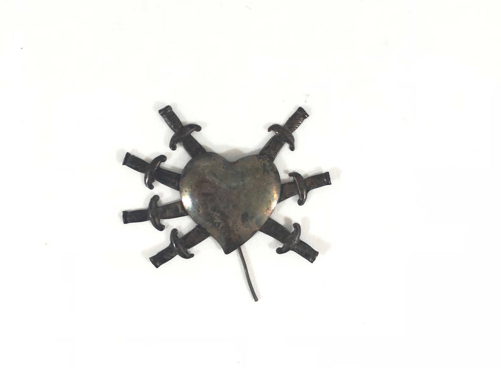 Antique Ex-Voto Pin Heart With Swords