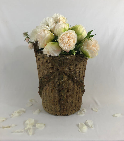 Antique Glazed Wicker Basket