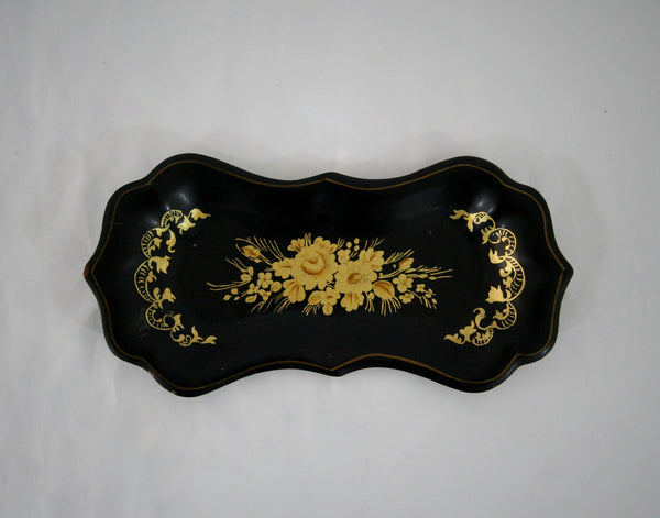 Black and Gold Floral Tray