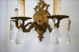 Set of Two Gold Sconces with Crystals