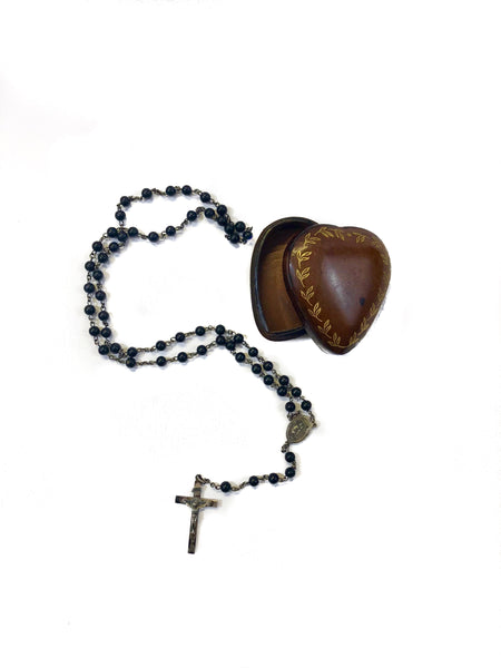 Leather Heart Ex-Voto with Rosary
