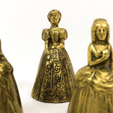 Set of Five Antique Brass 'Table Ladies' Bells