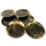 Set of Six Gold and Black Marbled Plates