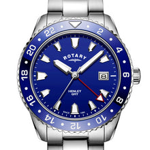Rotary Gents Stainless Steel Blue GMT Henley
