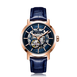Rotary Gents Rose Gold PVD Greenwich Skeleton