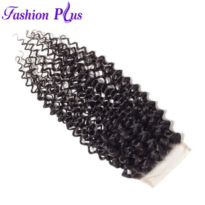 Fashion Plus - Curly 100% Human Hair Brazilian Virgin 4x4 Lace Closure Curly Closures