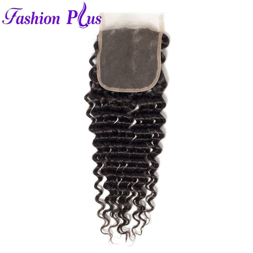 Fashion Plus - Deep Wave 100% Human Hair Brazilian Virgin 4x4 Lace Closure Deep Wave Closures