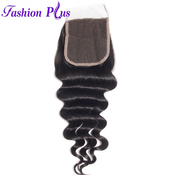 Fashion Plus - Loose Wave 100% Human Hair Brazilian Virgin 4x4 Lace Closure Loose Wave Closures