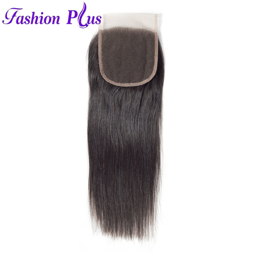 Fashion Plus - Straight 100% Human Hair Brazilian Virgin 4x4 Lace Closure Straight Closures
