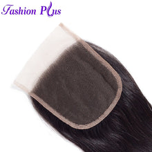 Load image into Gallery viewer, Fashion Plus - Straight 100% Human Hair Brazilian Virgin 4x4 Lace Closure Straight Closures