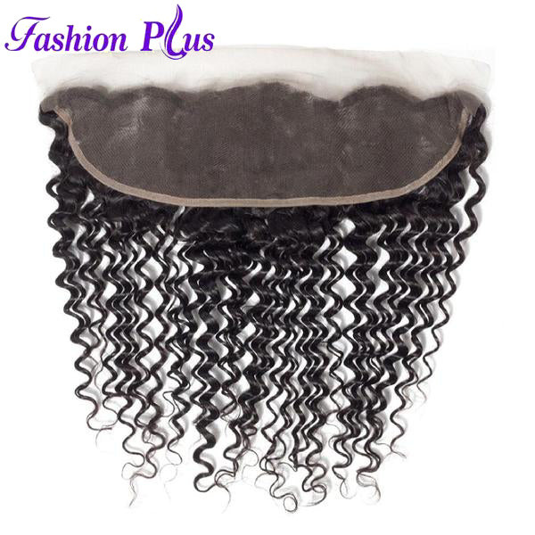 Fashion Plus - Deep Wave 100% Human Hair Brazilian Virgin 13x4 Lace Frontal Deep Wave Hair Frontals