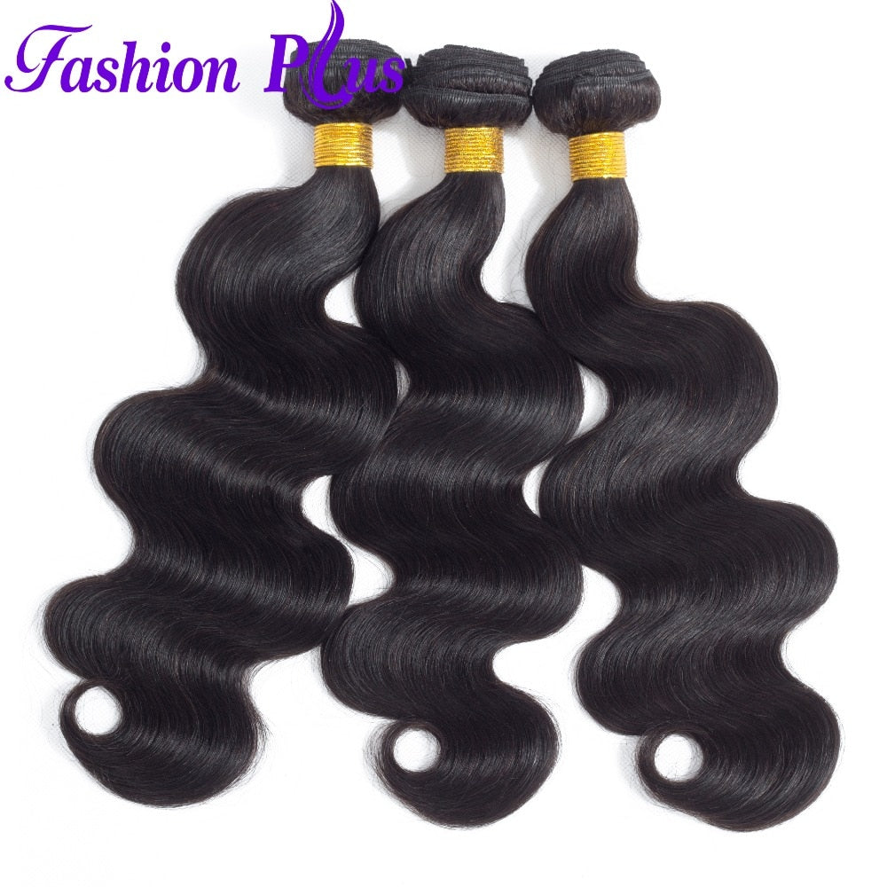 Fashion Plus - Body Wave 100% Human Hair Brazilian Virgin Weave 3PC Bundles Body Wave Hair Extensions