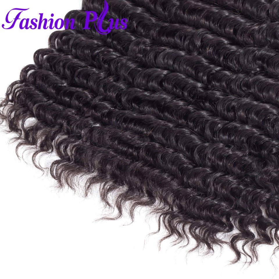 Fashion Plus - Deep Wave 100% Human Hair Brazilian Virgin Weave 3PC Bundles Deep Wave Hair Extensions