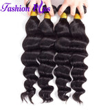 Fashion Plus - Loose Wave 100% Human Hair Brazilian Virgin Weave 3PC Bundles Loose Wave Hair Extensions