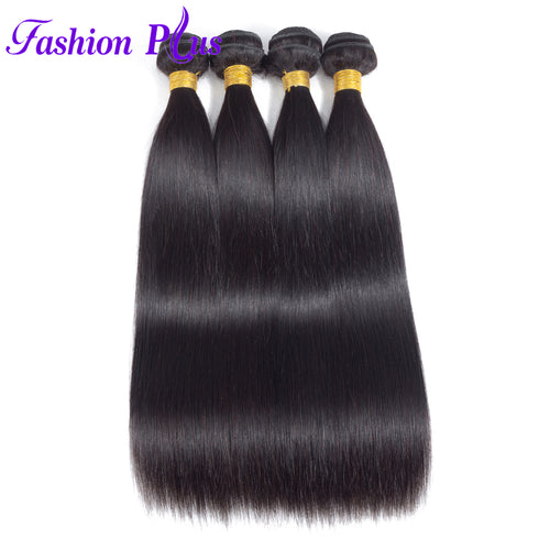Fashion Plus - Straight 100% Human Hair Brazilian Virgin Weave 3PC Bundles Straight Hair Extensions