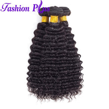Load image into Gallery viewer, Fashion Plus - Deep Wave 100% Human Hair Brazilian Virgin Weave 3PC Bundles Deep Wave Hair Extensions