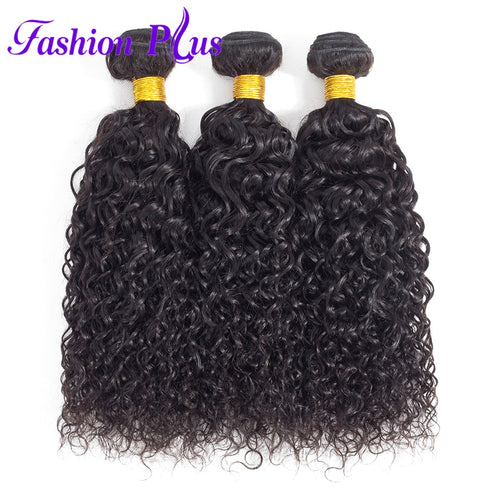 Fashion Plus - Curly 100% Human Hair Brazilian Virgin Weave 3PC Bundles Curly Hair Extensions