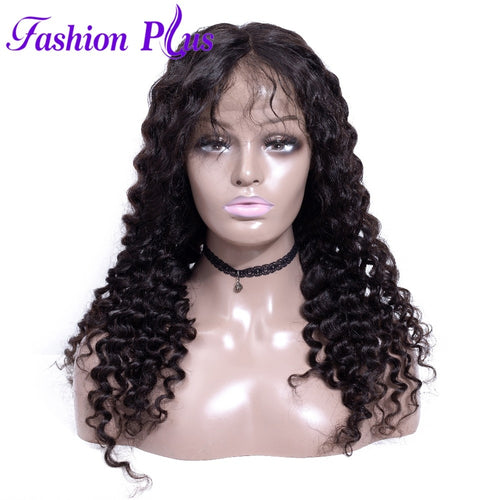 Fashion Plus - Deep Wave Full Lace 100% Human Hair Wig with Baby Human Hair 180% Density Natural Color Brazilian Deep Wave Human Hair Wigs