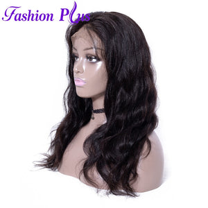 Fashion Plus - Body Wave Full Lace 100% Human Hair Wig with Baby Human Hair 180% Density Natural Color Brazilian Body Wave Human Hair Wigs