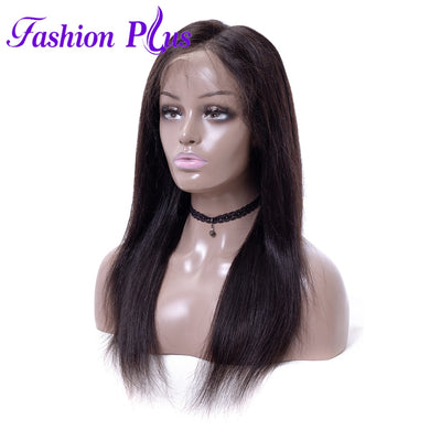 Fashion Plus - Straight Full Lace 100% Human Hair Wig with Baby Human Hair 180% Density Natural Color Brazilian Straight Human Hair Wigs