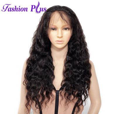 Fashion Plus - Loose Wave Full Lace 100% Human Hair Wig with Baby Human Hair 180% Density Natural Color Brazilian Loose Wave Human Hair Wigs