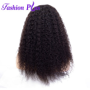 Fashion Plus - Curly Full Lace 100% Human Hair Wig with Baby Human Hair 180% Density Natural Color Brazilian Curly Human Hair Wigs
