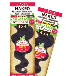 Saga Naked - Body Wave 100% Human Hair Brazilian Virgin Remy 4x4 Lace Closure Body Wave Closures