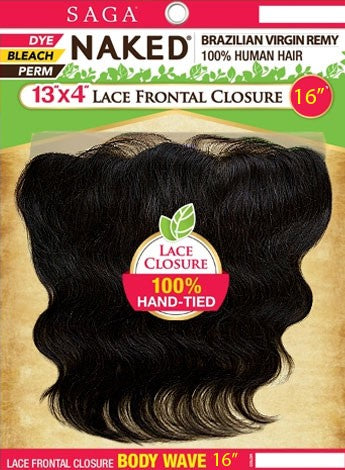 Saga Naked - Body Wave 100% Human Hair Brazilian Virgin Remy 13x4 Lace Frontal Body Wave Hair Frontals