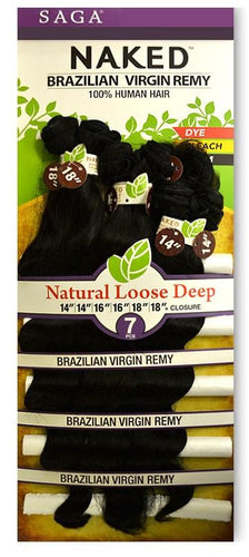 Saga Naked - Loose Deep 100% Human Hair Brazilian Virgin Wave 7PC Bundles Loose Deep Hair Extensions