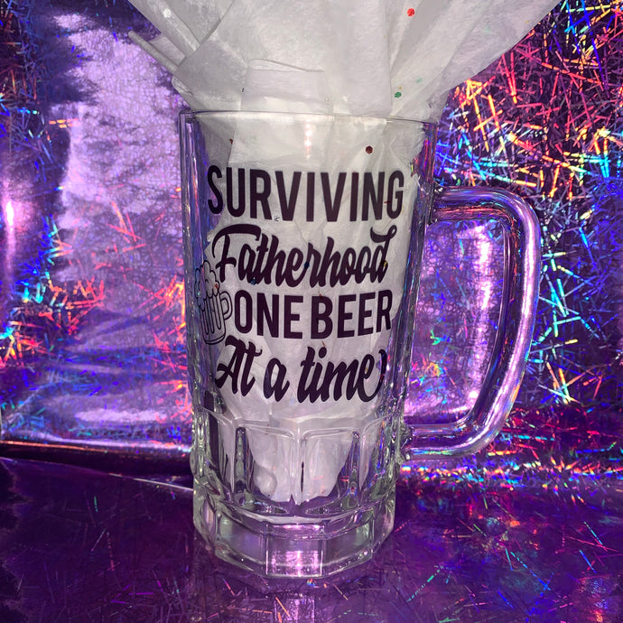 Surviving Fatherhood Beer Mug