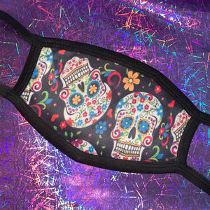 Sugar Skull Black Face Mask