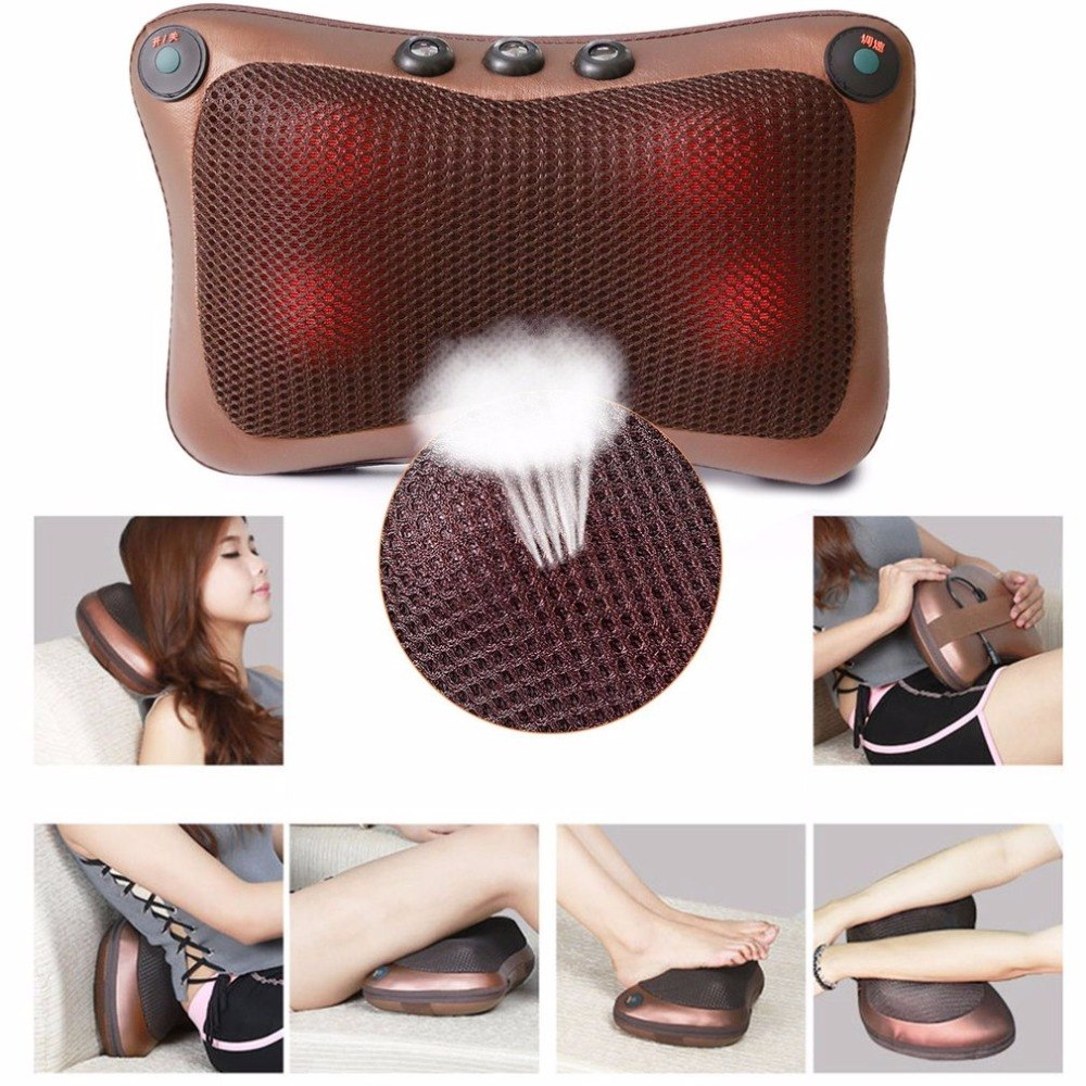 MTS-Magnetic Therapy Electric Neck Massager Home Car Massage Professional Double Keys 4 Heads Pillow Cushion Hot New