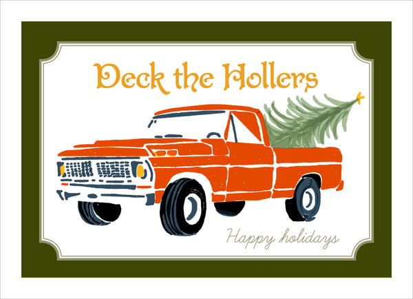 Deck the Hollers Holiday Cards with Pickup Truck