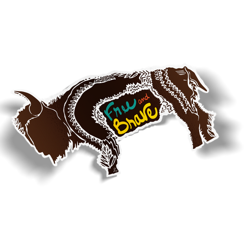 Free and Brave Buffalo Sticker