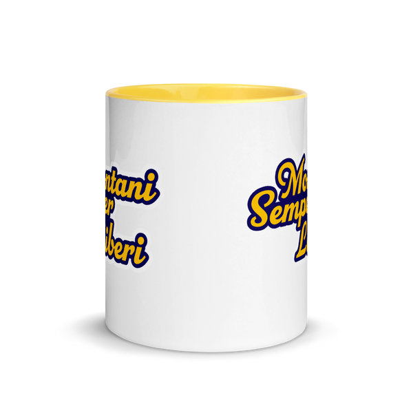 Blue and Gold Montani Semper Liberi Coffee Mug