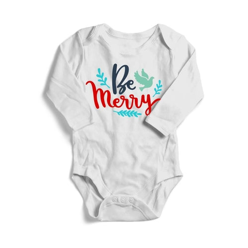 Be Merry Christmas Baby Long Sleeve Bodysuit