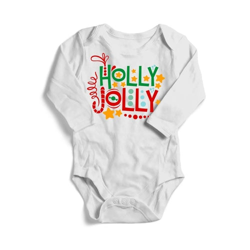 Holly Jolly Christmas Baby Long Sleeve Bodysuit