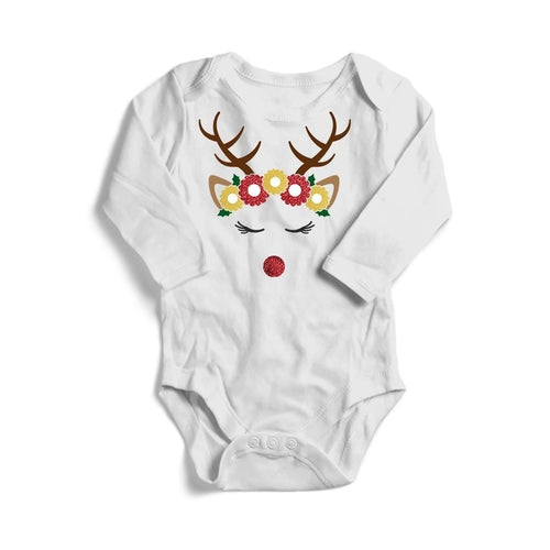 Flower Crown Deer Christmas Baby Long Sleeve