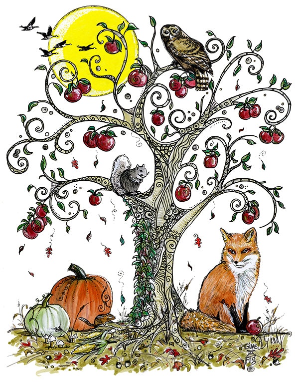 Autumn Fox and Apple Tree Kitchen Towel