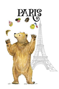 Benjamin D. Bear in Paris Tea Towels & Cards