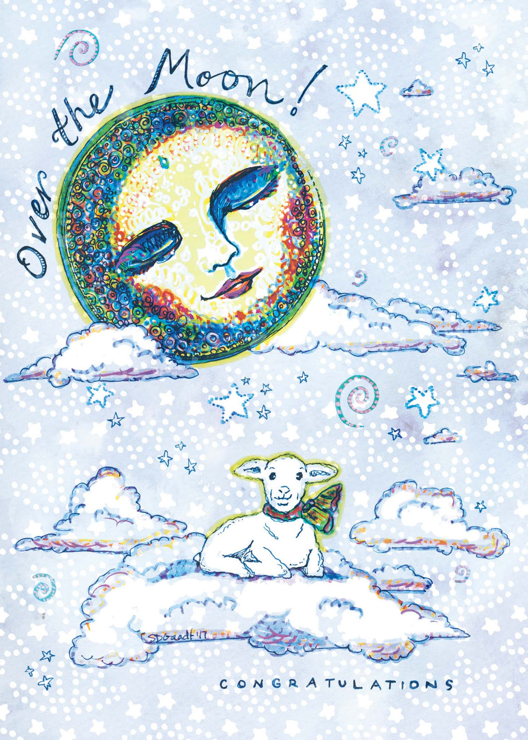 Over the Moon Congratulations Card
