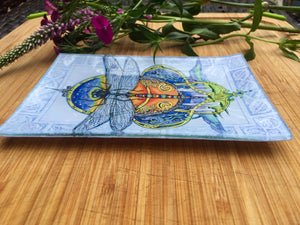 Celtic Dragonfly Glass Tray