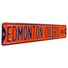 Edmonton Oilers Steel Street Sign-EDMONTON OILERS AVE orange on navy