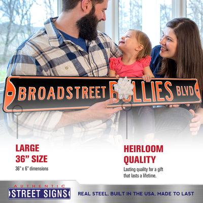 Philadelphia Flyers Steel Street Sign-BROADSTREET BULLIES BLVD