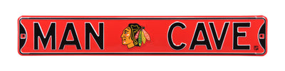 NHL Chicago Blackhawks Metal Man Cave Street Sign