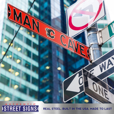Calgary Flames Steel Street Sign with Logo-MAN CAVE